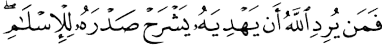 Whomever God wills to guide, He will open his chest to Islam (6:125)